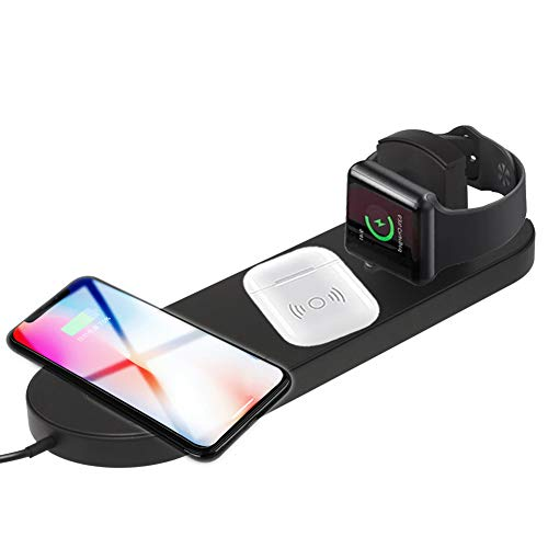 DAYAO Fast Wireless Charger 7.5W/10W,Ultra-Thin 3 in 1 Qi Wireless Charging Pad Station Compatible with Apple Watch Series 4/3/2 Airpods iPhone XS Max/X/XR/8 Plus And Samsung Galaxy S9/S8/Note (Black)