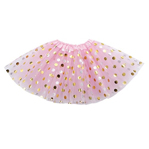 Sumen Baby Girls Gold Polka Dots Ballet Skirts Infant Fancy Party Tutu Tulle Skirt (0-24M, Pink)