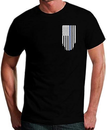 Rothco Black TBL USA Flag TShirt Mens Thin Blue Line Long Sleeve Tee Shirt