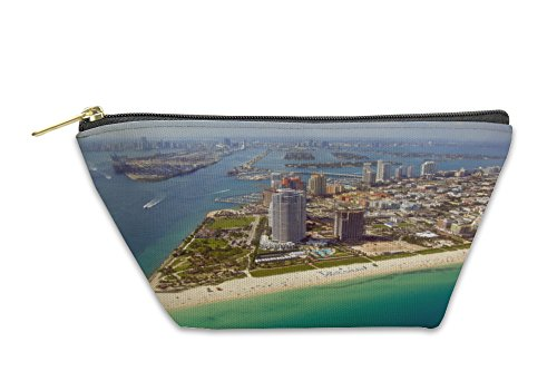 Gear New Accessory Zipper Pouch, Miami Skyline View From Plane, Large, - Miami Shops Bayside