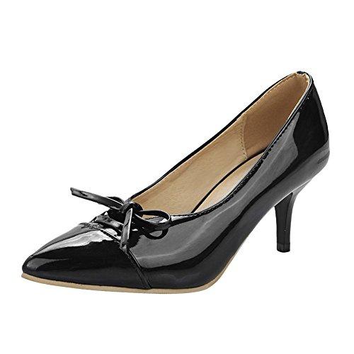 Mee Shoes Damen Kitten heels Schleife Geschlossen Pumps Schwarz