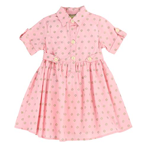 MARIA ELENA - Toddlers and Girls Presley Harper Light Cotton Shirt Dress in Pink Coral 7/8