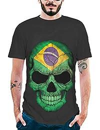 Fashion Mens Short Sleeve 3D National Flag Skull Printing T-Shirt eb02923e2