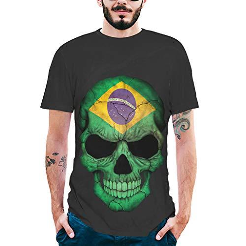 2019 Shirts for Men,Fashion Mens Splash-Ink 3D Printing Skull Shirt Short Sleeve T-Shirt Blouse Tops,Men's Shorts Black
