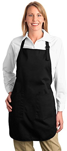 Port Authority Full Length Apron with Pockets, Black, OSFA