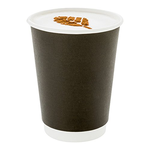 500-CT Disposable Black 12-oz Hot Beverage Cups with Double Wall Design: No Need for Sleeves - Perfect for Cafes - Eco Friendly Recyclable Paper - Insulated - Wholesale Takeout Coffee - Black Cup