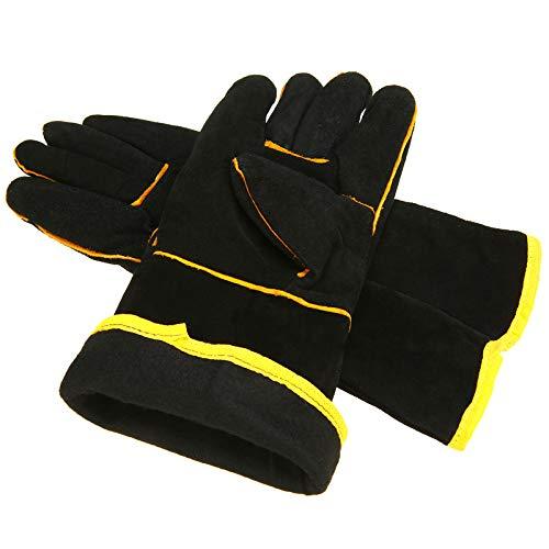 1 Pair Black Welding Protective Gloves Heavy Duty Mig Welding Soldering Gloves Gauntlets Welders Leather Cowhide Gloves - Leather Welders Gauntlets
