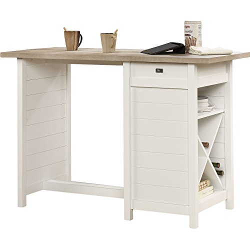 Hampton Kitchen Island with Lintel Oak Top Made w/ Manufactured Wood in White 35.75'' H x 53.15'' W x 23.47'' D