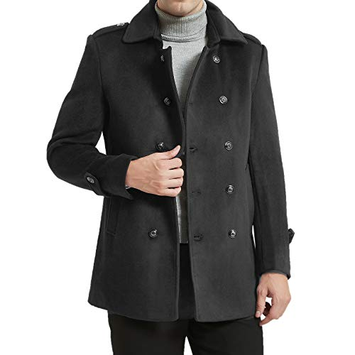 ZHPUAT Men's Wool Coat Thermal Pea Coat Winter Trench Coat with Single/Double Breasted