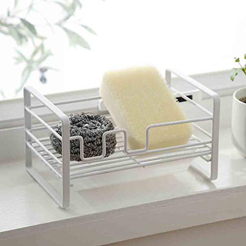 (sun·light Iron Rack Pool Storage Rack Free Punching Kitchen Sink Sponge Drain Rack Concealed Hook Rack Suitable for Storage Small Item in Kitchen Bathroom)