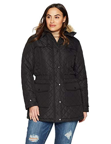(The Plus Project Women's Plus Size Quilted Long Coat with Pockets 4X-Large Black)