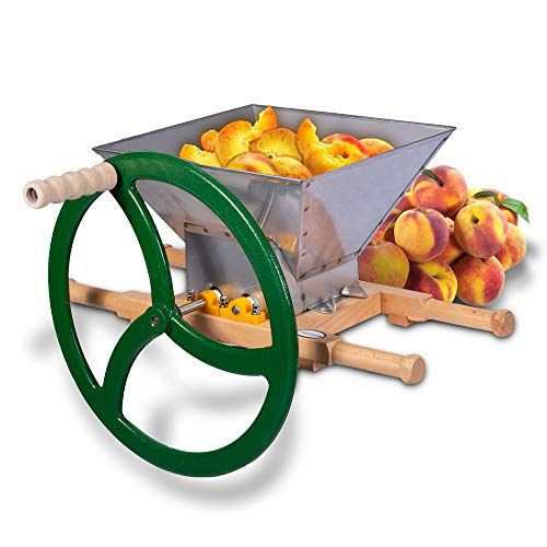 (Fruit & Apple Crusher for Wine & Cider Pressing - Manual Juicer Grinder & Fruit Scatter - Heavy Duty Stainless Steel Cutting Blades & Hopper - By Green Max Products)