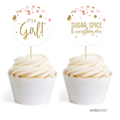 Andaz Press Blush Pink Gold Glitter Girl Baby Shower Party Collection, Round Cupcake Topper DIY Party Favors Kit, (Baby Shower Cakes)