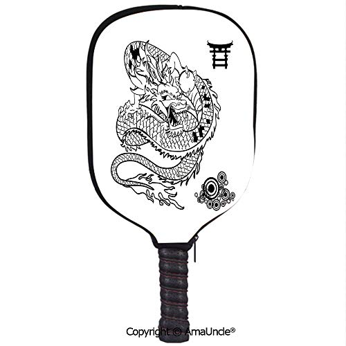 SCOXIXI Customized Racket Cover, Stylish Tattoo Art Style Mythological Dragon Figure Monochrome Reptile DesignRacket Cover,Protect Your Pickleball Paddles