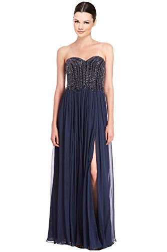 David Meister Strapless Beaded Bodice Chiffon Evening Gown Dress