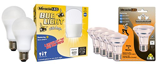 Miracle LED Outdoor Security LED 4-Pack with Bonus Super Saver Wide Angle LED Bug Light Bulbs 2-Pack, Replaces energy sucking old 60 Watt bug lights with amazing Mellow Yellow shine (604836) Mellow Yellow Lamp
