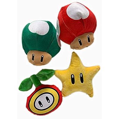 Nintendo Super Mario 7 Inch Icon Super Star, 1 Up Mushroom, Super Mushroom, Fire Flower Plush Assortment: Toys & Games