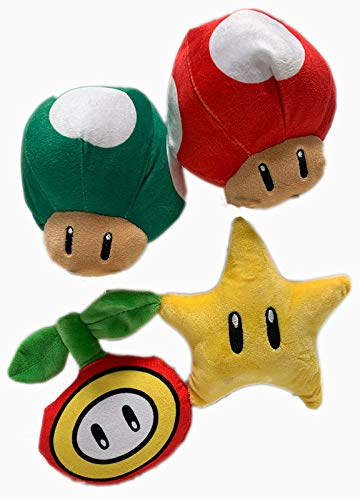 Nintendo Super Mario 7 Inch Icon Super Star, 1 Up Mushroom, Super Mushroom, Fire Flower Plush Assortment