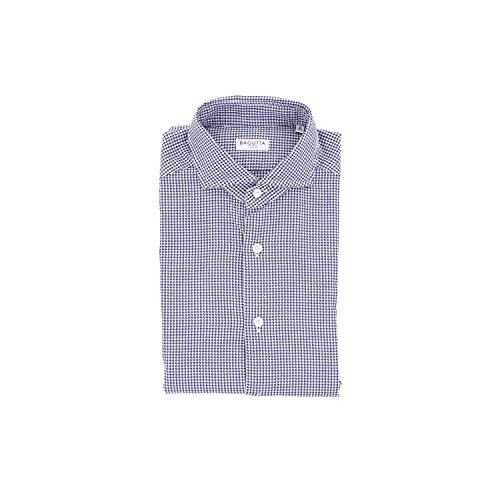Bagutta Men's Siena08536whiteblue White Cotton Shirt