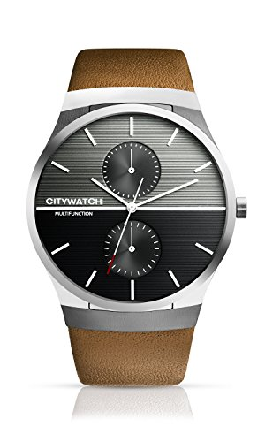 CITYWATCH Limited Edition Men's Watch with Brown Genuine Leather Strap, Silver SS Case, CY005.03BR