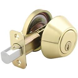 Mountain Security Deadbolt Single Cylinder, Polished Brass