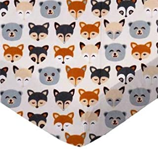 product image for SheetWorld 100% Cotton Flannel Flat Crib Toddler Sheet 28 x 52, Woodland Animals, Made in USA