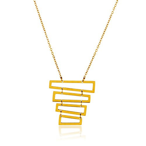 ELYA Jewelry Womens Gold Plated Gold Plated Polished Rectangles Stainless Steel Pendant Necklace, One ()