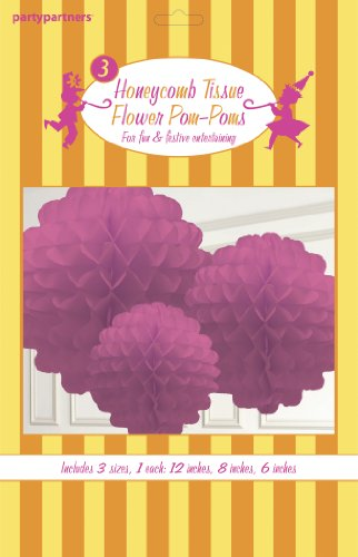 Party Partners Design Hanging Honeycomb Tissue Magenta Pom-Pom Decoration Balls, Set of 3