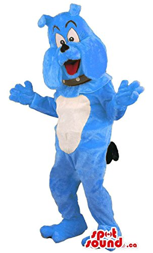 [Blue Bulldog Animal Mascot SpotSound US With Collar And Bent Ears] (Blue Bull Mascot Costume)