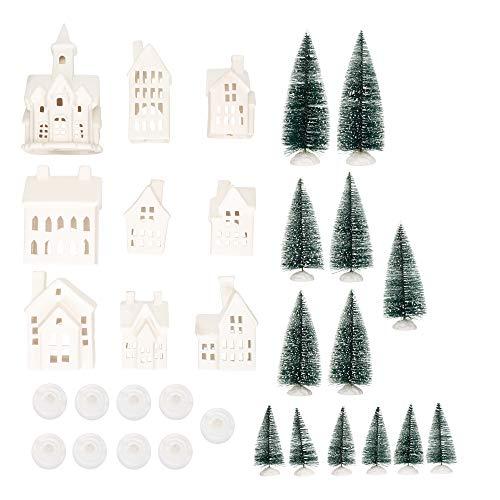 Mark Feldstein Winter Village LED Tea Light 31 Piece Porcelain Tabletop Christmas Figurine Boxed Set (Village Pieces)