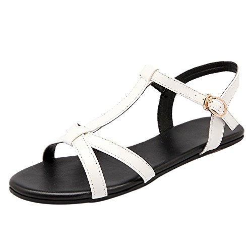 TAOFFEN Women T-Strap Flat Sandals White FX963a1F3