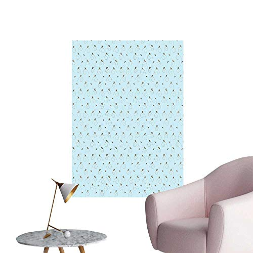(Wall Stickers for Living Room Chevron Pattern in Two Colors with Embellished Flowers Print Light Blue Cocoa Sepia Vinyl Wall Stickers Print,20