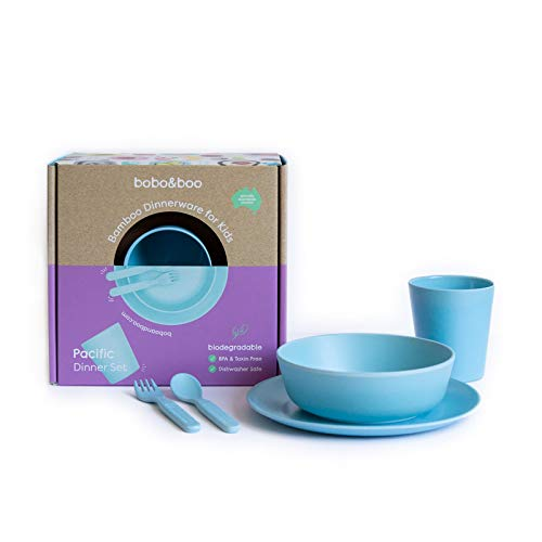 (Bobo&Boo Bamboo 5 Piece Children's Dinnerware, Pacific Blue, Non Toxic & Eco Friendly Kids Mealtime Set for Healthy Infant Feeding, Great Gift for Birthdays, Christmas & Preschool Graduations)