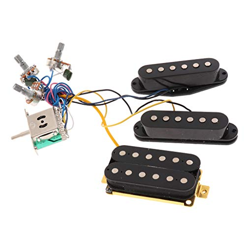 Flameer Wired Electric Guitar Pickup Harness Kit Single Coil Humbucker Pickup with 3 Way Toggle Switch for Fender ST Style Guitar - Black, 8.5 x 1.8cm