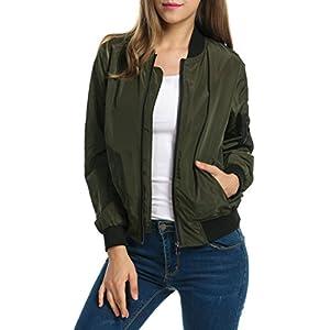 Zeagoo Women Classic Solid Biker Jacket Zip Up Bomber Jacket Coat Army Green L