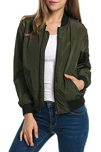 Zeagoo Women Classic Solid Biker Jacket Zip up Bomber Jacket Coat Army Green S by Zeagoo (Image #2)
