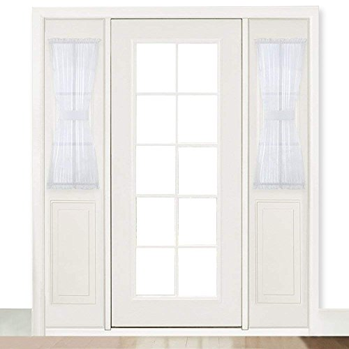 RYB HOME French Door Window Curtain Sheer Sidelight Curtains for Front Door/Back Door/Entry Door with 2 Tiebacks, Wide 30 x Long 40 inch (1 Pair, White)