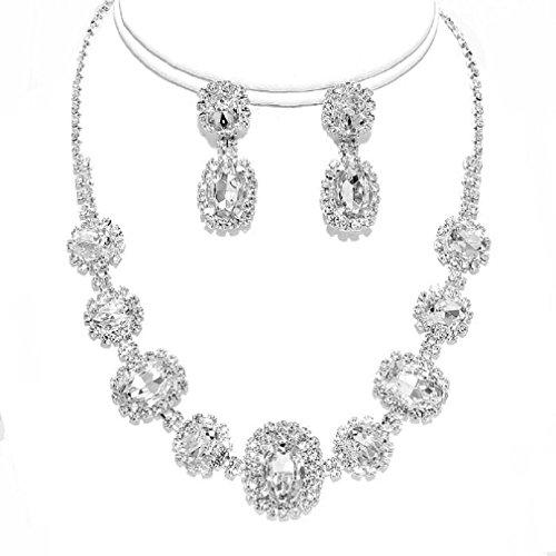 Elegant Clear Round Rhinestone Crystal Silver Necklace Earring Set Bridesmaid Prom Bride -