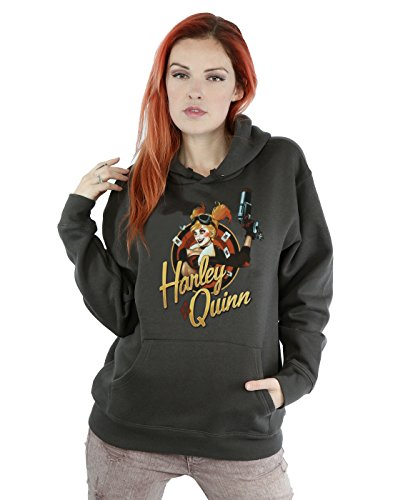 DC Comics Women's Bombshells Harley Quinn Badge Hoodie Medium Charcoal -