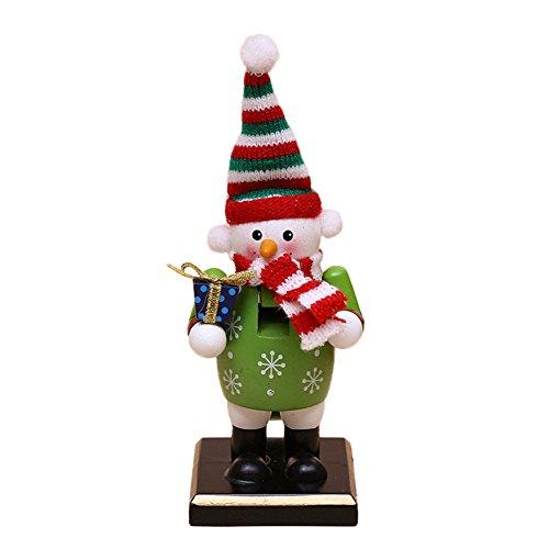 O-Toys Wooden Nutcracker Ornaments Christmas Decoration Figures Puppet Toys Home Decor (6 Inch) (Snowman)