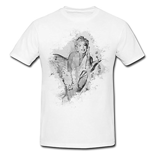 Marilyn Monroe V-(2) T-Shirt Herren, weiß mit Aufdruck