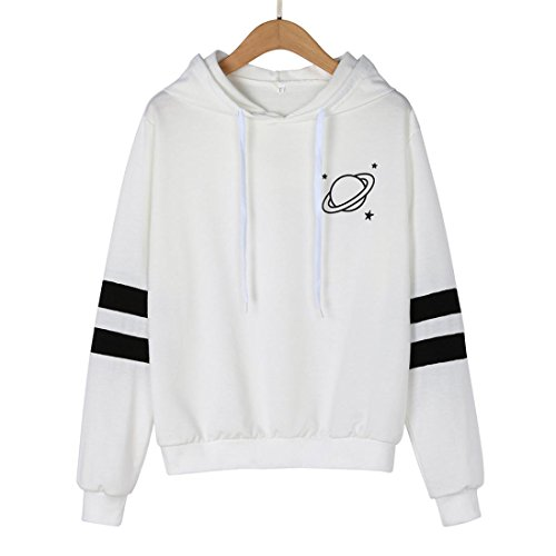 - Sinzelimin Winter Autumn Womens Long Sleeve Sweatshirt Drawstring Printed Hoodie Causal Tops Blouse Baseball Tracksuit (White, XL)
