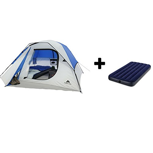 OZARK Trail Family Cabin Tent (Blue/Grey, 4 Person with Airbed)