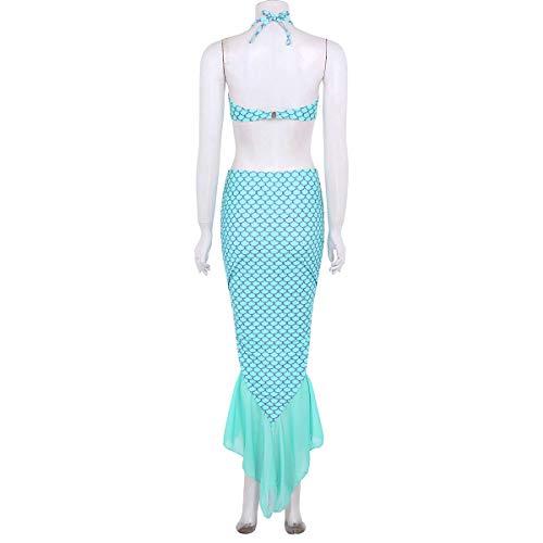 IMEKIS Donna Vestito da Sirena Paillettes Principessa Fantasia Cosplay Vestire Sirenetta Festa di Carnevale Vestito Coda di Sirena Gonna Lungo Slim Abito da Sera a Squame di Pesce