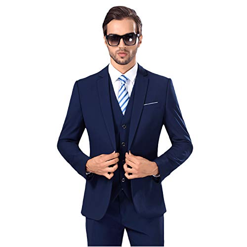 MY'S Men's Suit Slim Fit One Button 3-Piece Suit Blazer Dress Business Wedding Party Jacket Vest & Pants Deep Blue,XL, 5'9-6'3, 190-200lbs ()
