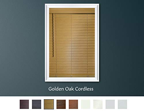 Luxr Blinds Custom-Made 2″ Premium Faux Wood Cordless Horizontal Blinds with Easy Inside Mount – 36″ x 60″ – Golden Oak