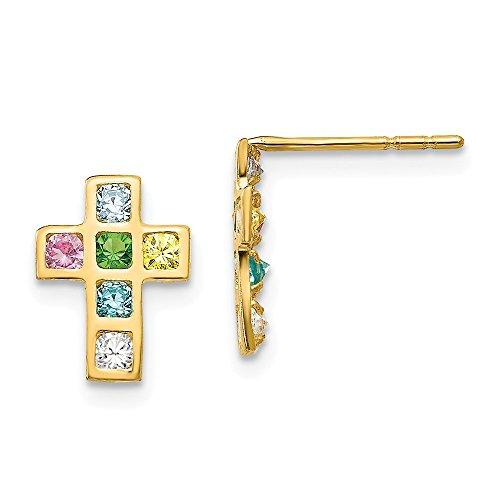 14kt Yellow Gold Madi K Multi-colored CZ Cross Post Earrings (Colored Multi Cross Yellow)