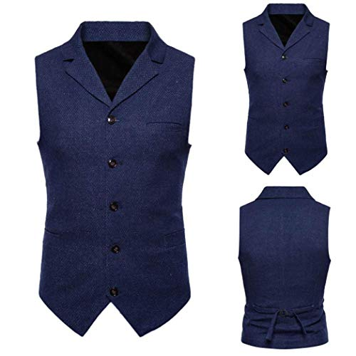 Striped Button blue Plaid Suit Sleeveless 7 Coat Printed Clearance TOPS Blouse DAYSEVENTH MEN Vest British Men Jacket Casual xqSICnqYwT