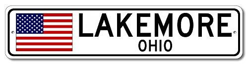 "The Lizton Sign Shop Lakemore, Ohio Aluminum America Flag Sign, USA Custom Flag Sign - 4""x18"""