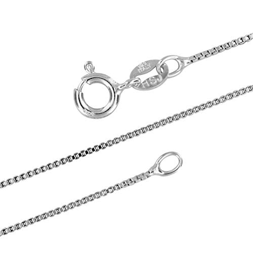 Sterling Silver 1mm Box Chain Necklace Solid Italian Nickel-Free, 19 Inch ()